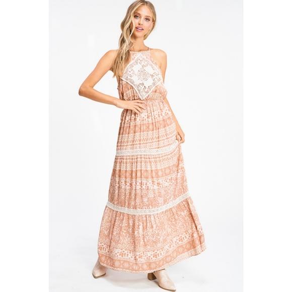 Glam Girl Fashion Dresses & Skirts - NWT Lace Boho Halter Maxi Dress